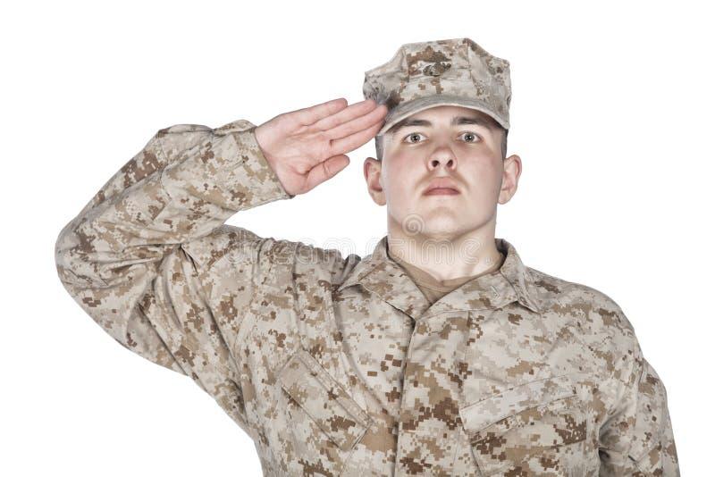 Begrüßungsund lächelndes Armeesoldat-Studiotrieb stockbilder