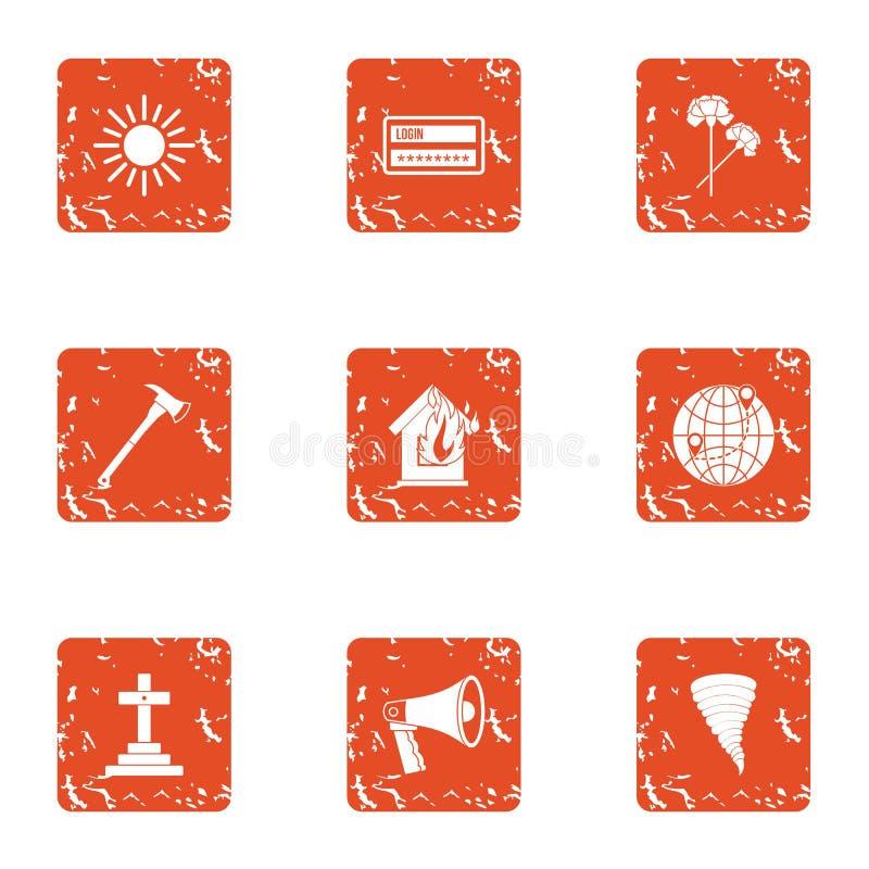 Begraaf geplaatste pictogrammen, grunge stijl stock illustratie