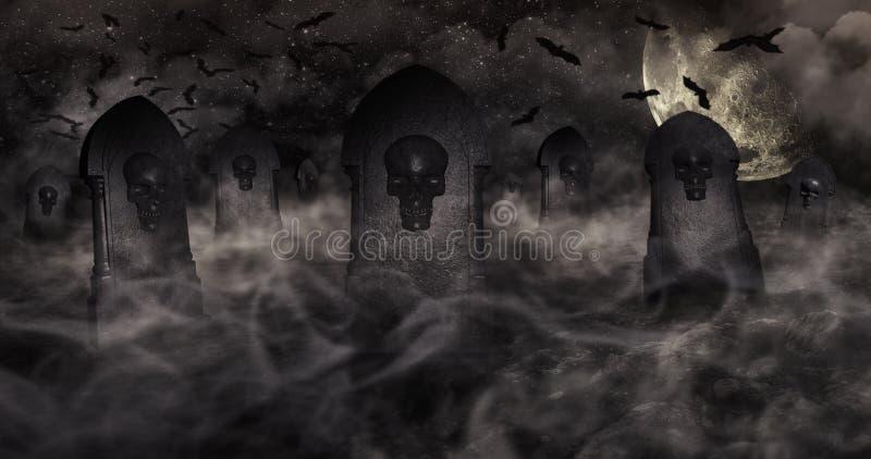 Begraafplaats bij Nacht met Grafstenen met Schedels en Bewolkte Hemel Ful royalty-vrije illustratie