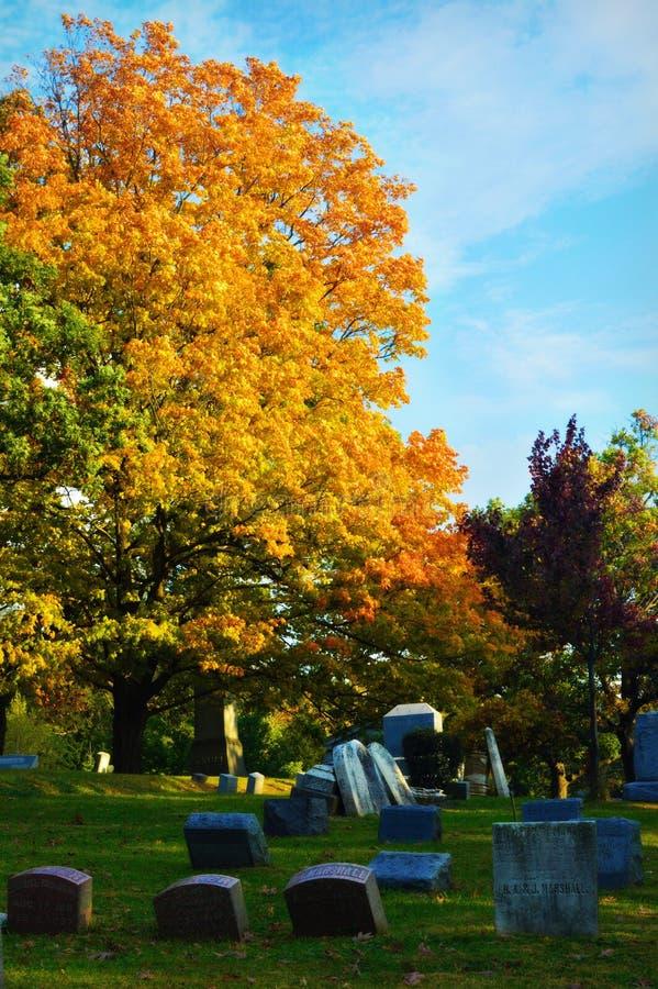 Begraafplaats in daling stock afbeeldingen