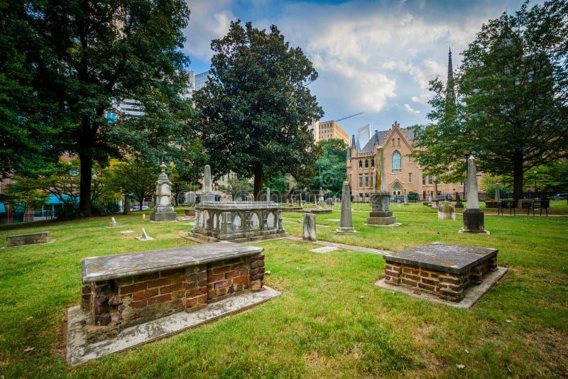 Begraafplaats in de historische Vierde Afdeling van Charlotte, het Noorden Carolin royalty-vrije stock afbeelding