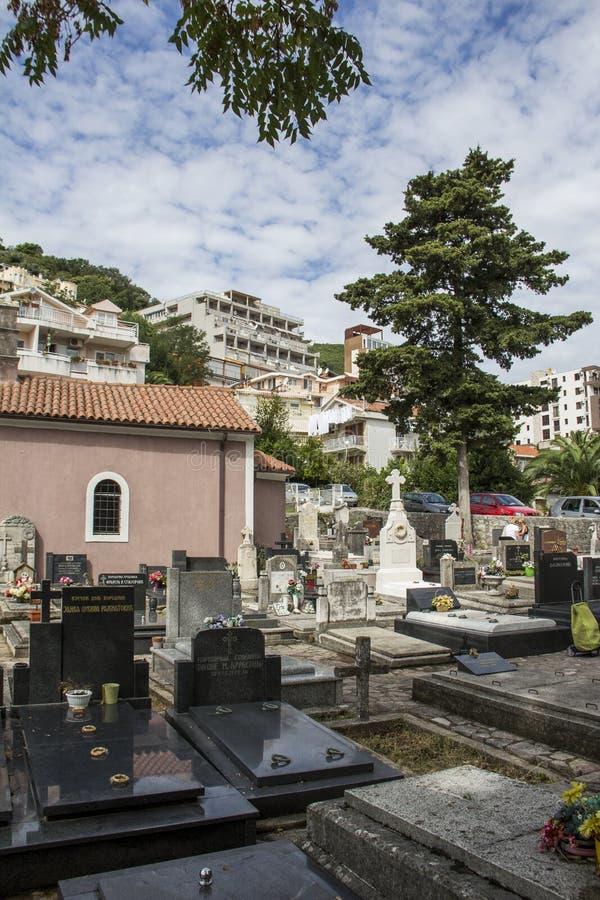 Begraafplaats in de mooie stad van Herceg Novi stock foto