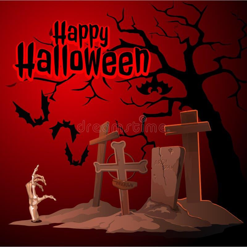 Begraafplaats en zombieën, Gelukkig Halloween royalty-vrije illustratie