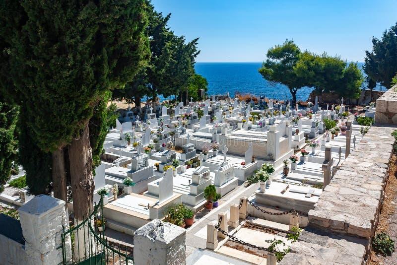 Begraafplaats in Samos Stad stock fotografie
