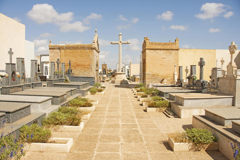 Begraafplaats in Spanje stock afbeeldingen