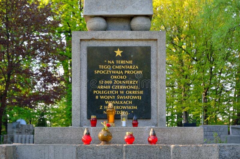 Begraafplaats van Sovjetmilitairen in Pszczyna, Polen stock foto's