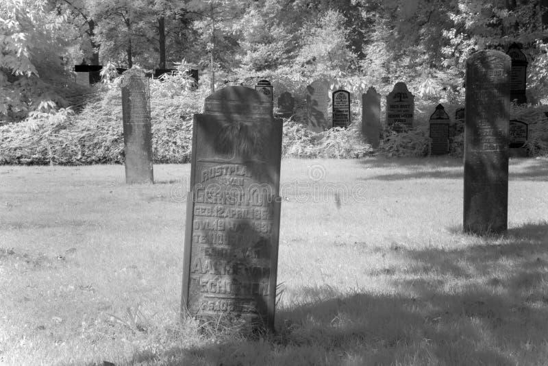 Begraafplaats in zwart-wit infrarood licht in Hoogeveen royalty-vrije stock foto's