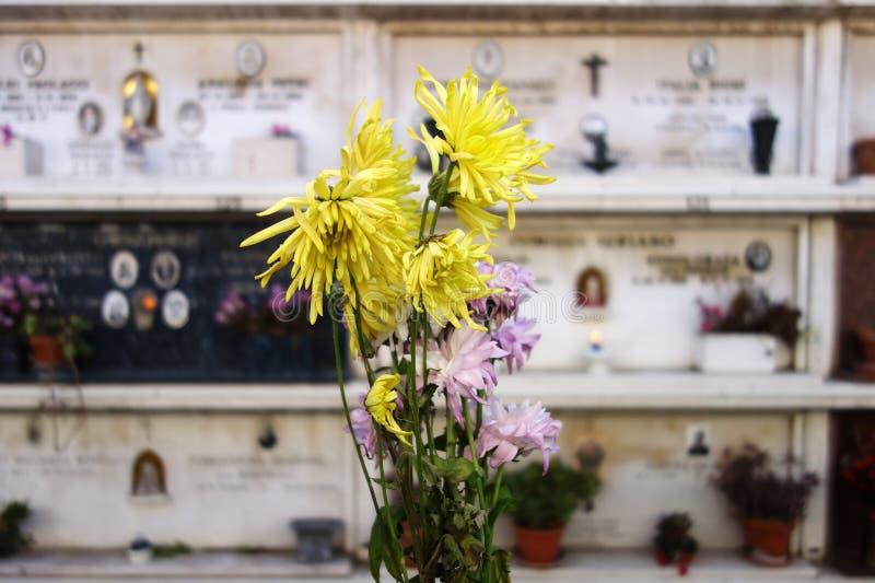 Begraafplaatsbloemen stock fotografie