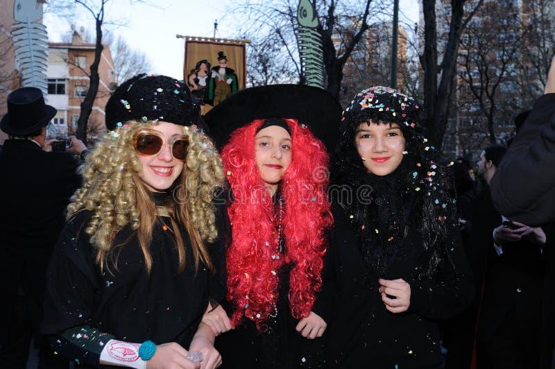 BEGRAFENIS VAN de SARDINE Carnaval. Madrid .SPAIN royalty-vrije stock foto