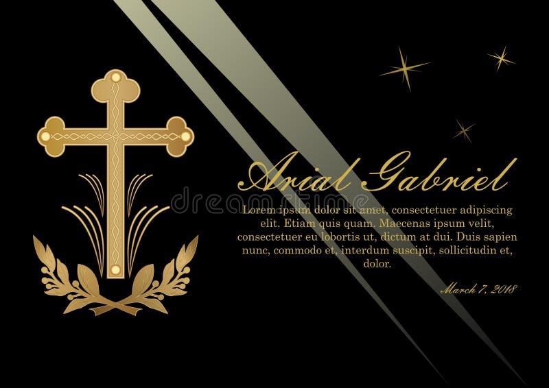 Begrafenisaankondiging in luxueus ontwerp Luxueus overlijdensbericht met gouden kruisbeeld en Lawrence-takken op zwarte royalty-vrije illustratie