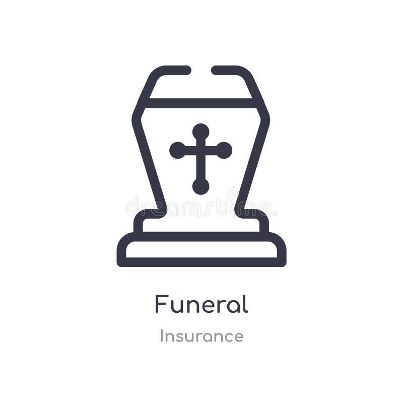 begrafenisoverzichtspictogram ge?soleerde lijn vectorillustratie van verzekeringsinzameling editable dun slag begrafenispictogram royalty-vrije illustratie