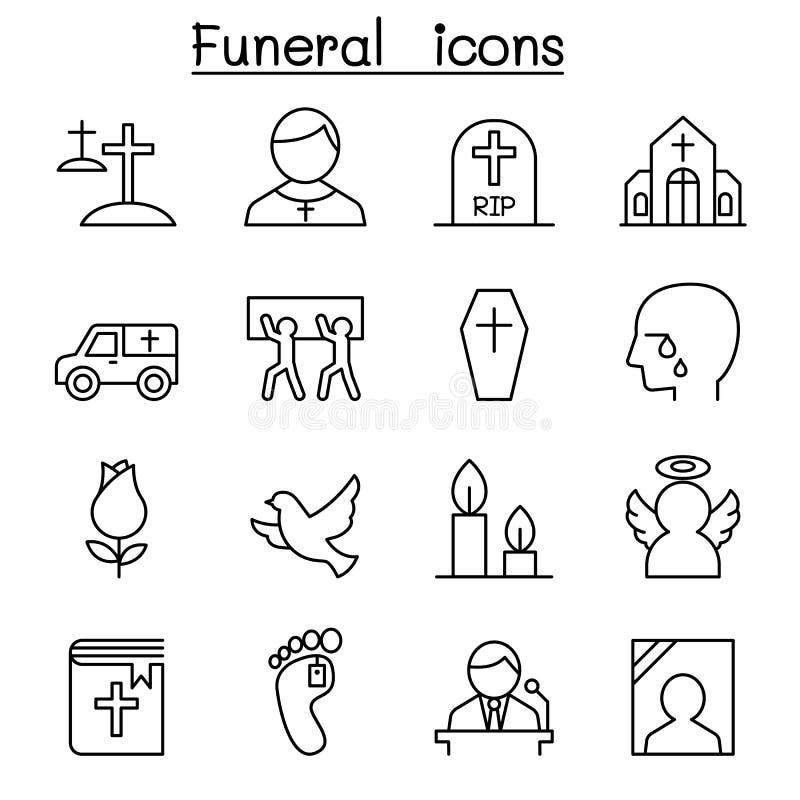 Begravning- & jordfästningsymbolsuppsättning i den tunna linjen stil royaltyfri illustrationer