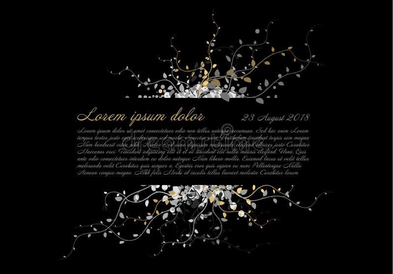 Begravnings- kortmall med vita och guld- blommor stock illustrationer