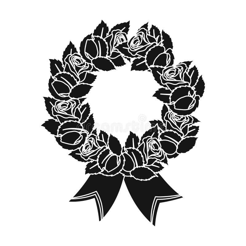 Begravnings- kranssymbol i svart stil som isoleras på vit bakgrund För symbolmateriel för begravnings- ceremoni illustration för  vektor illustrationer