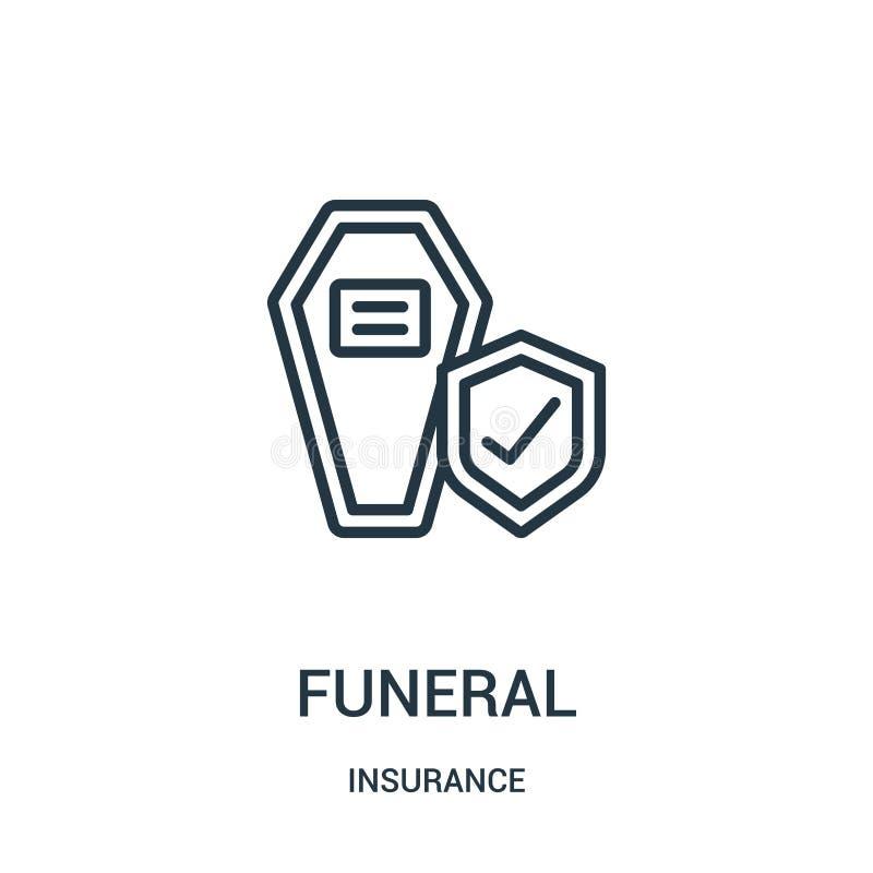 begravnings- symbolsvektor från försäkringsamling Tunn linje begravnings- illustration för översiktssymbolsvektor Linjärt symbol royaltyfri illustrationer