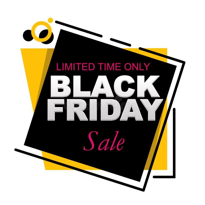 Begrenzte Zeit-nur Black Friday-Verkaufs-Fahne auf einem weißen Hintergrund lizenzfreie abbildung