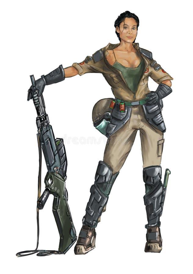 Begrepp Art Science Fiction Painting av den Woman Posing With för kvinnlig soldat rifflen vektor illustrationer