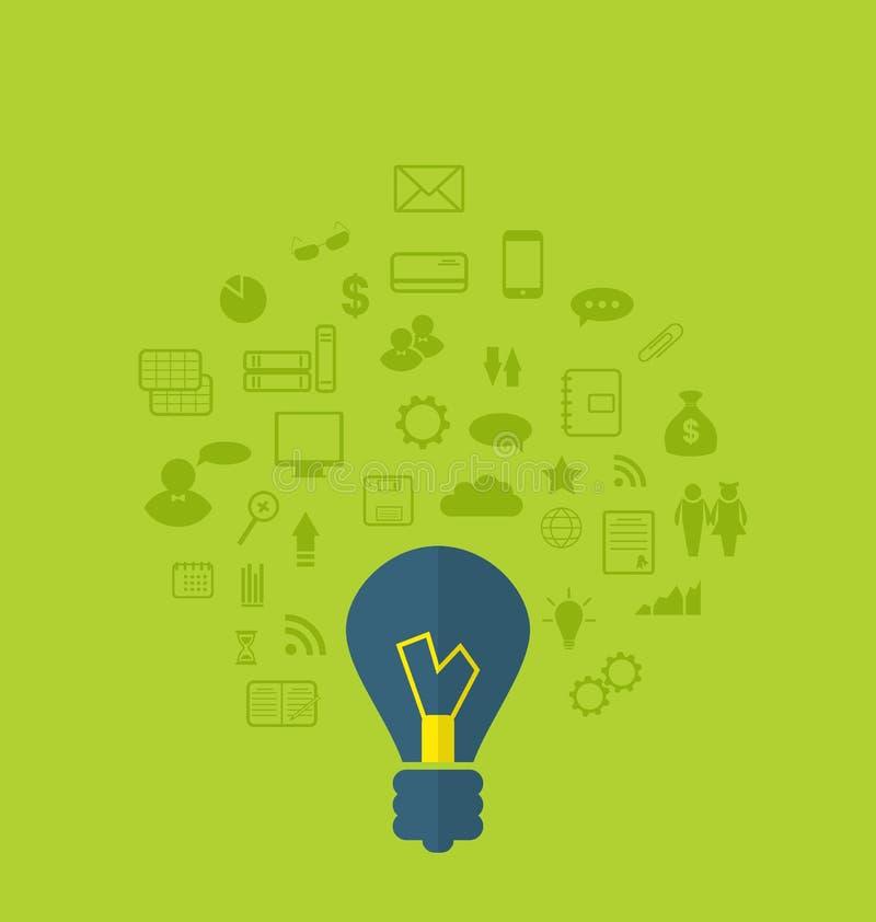 Begrepp av affärsidén med olika infographic symboler, lägenhet vektor illustrationer
