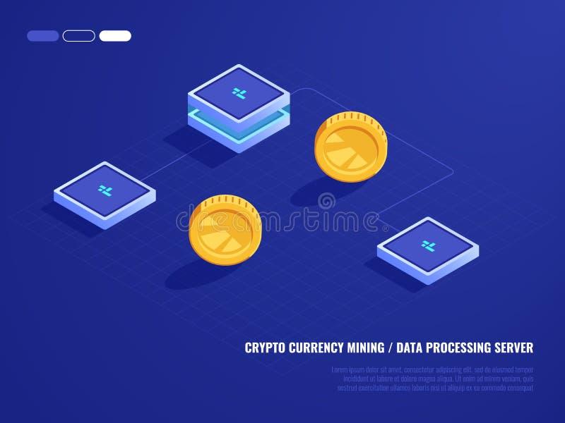 Begrepp av att bryta crypto valuta, maskinvaruserverrum, mynt, dator som bearbetar makt, isometrisk databas royaltyfri illustrationer