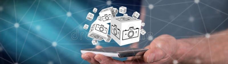 Begrepp av att dela för bilder royaltyfria foton