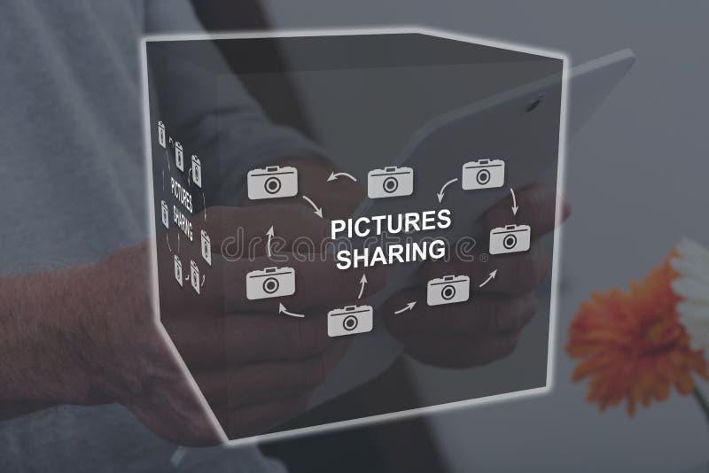 Begrepp av att dela för bilder royaltyfri fotografi