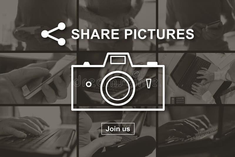 Begrepp av att dela f?r bilder arkivbilder