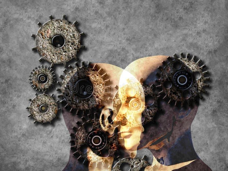 Begrepp av att lära för maskin att förbättra konstgjord intelligens stock illustrationer