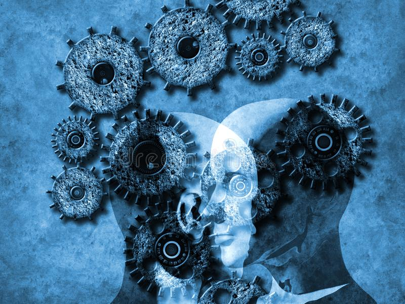 Begrepp av att lära för maskin att förbättra konstgjord intelligens vektor illustrationer