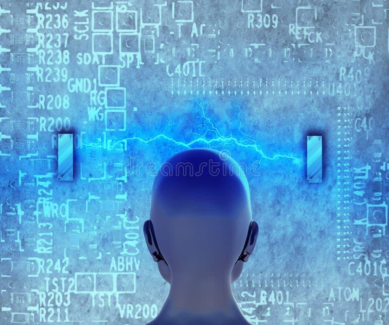 Begrepp av att lära för maskin att förbättra konstgjord intelligens royaltyfri illustrationer