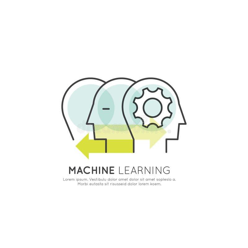 Begrepp av att lära för maskin, konstgjord intelligens, virtuell verklighet, EyeTap teknologi av framtid stock illustrationer