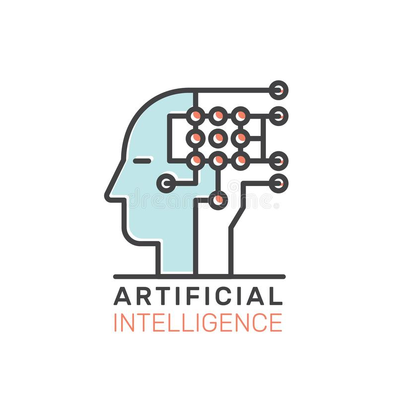 Begrepp av att lära för maskin, konstgjord intelligens, virtuell verklighet, EyeTap teknologi av framtid royaltyfri illustrationer