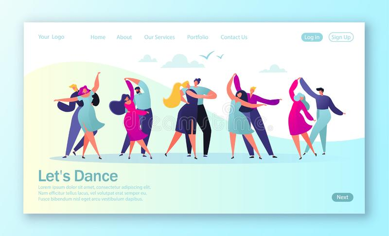 Begrepp av att landa sidan med plant lyckligt dansa parfolk Unga män och kvinnor som tycker om klassisk dans vektor illustrationer