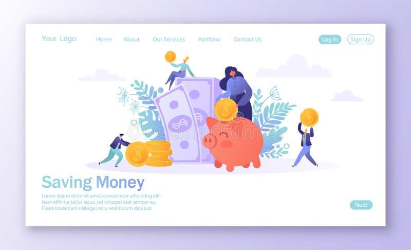 Begrepp av att landa sidan på finanstema Plant folk, affärstecken som samlar mynt in i den rosa spargrisen Tecken M royaltyfri illustrationer