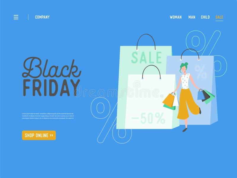 Begrepp av att landa sidan på att shoppa temat, svarta fredag online-Sale Illustration för mobil website- och webbsidadesign vektor illustrationer