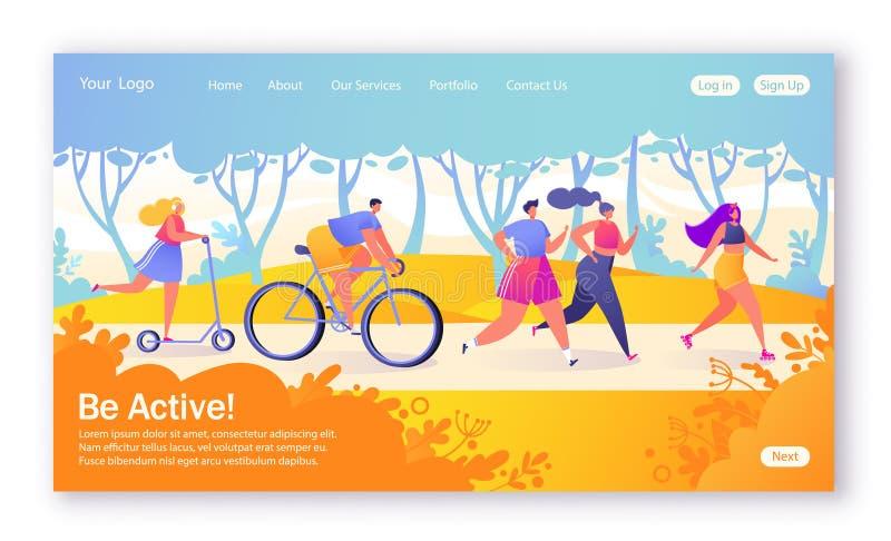 Begrepp av att landa sidan på sunt livsstiltema Aktiva folksportar Lycklig teckenridningcykel som couplerunning, kvinna på royaltyfri illustrationer