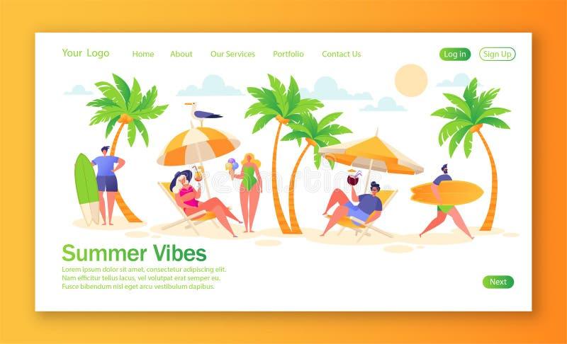 Begrepp av att landa sidan på tema för sommarsemester Utomhus- aktivitet och att vila p? stranden royaltyfri illustrationer
