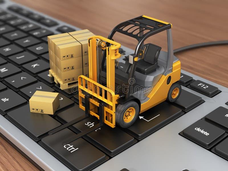 Begrepp av att leverera, sändning eller logistiken stock illustrationer