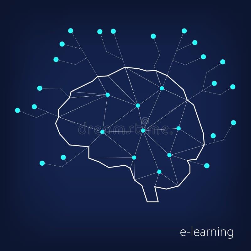 Begrepp av avlägset lära Kontur av en mänsklig hjärna i polygonal stil och beståndsdelar av en inbyggd microcircuit på ett mörker vektor illustrationer