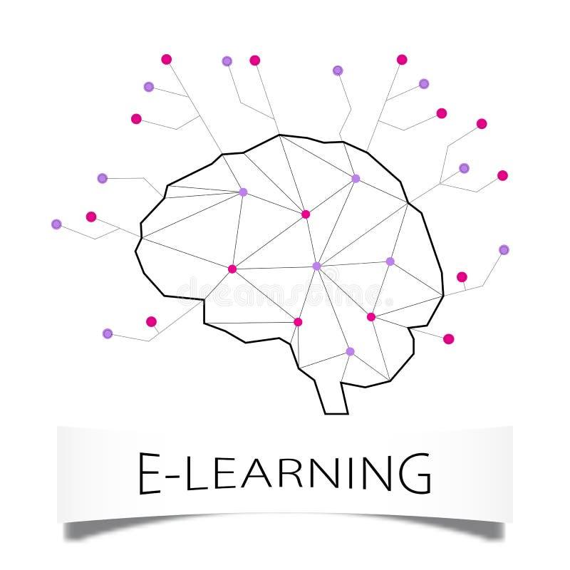Begrepp av avlägset lära Kontur av en mänsklig hjärna i polygonal stil och beståndsdelar av en inbyggd microcircuit på en vit vektor illustrationer