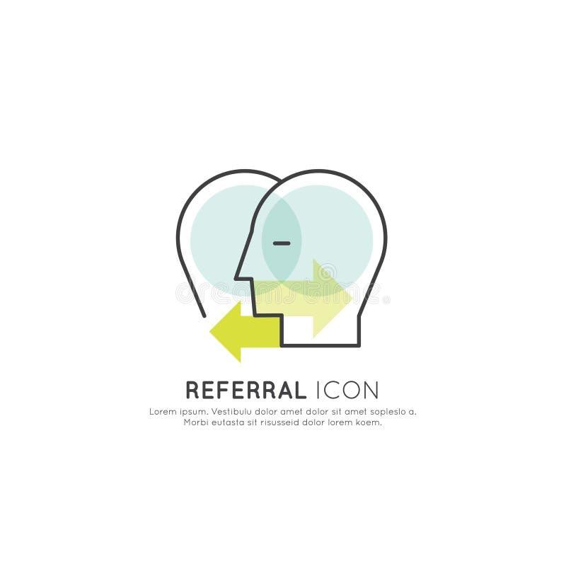 Begrepp av begreppet för remiss för affärsförbindelse, två mänskliga huvud förbindelse med pilar vektor illustrationer