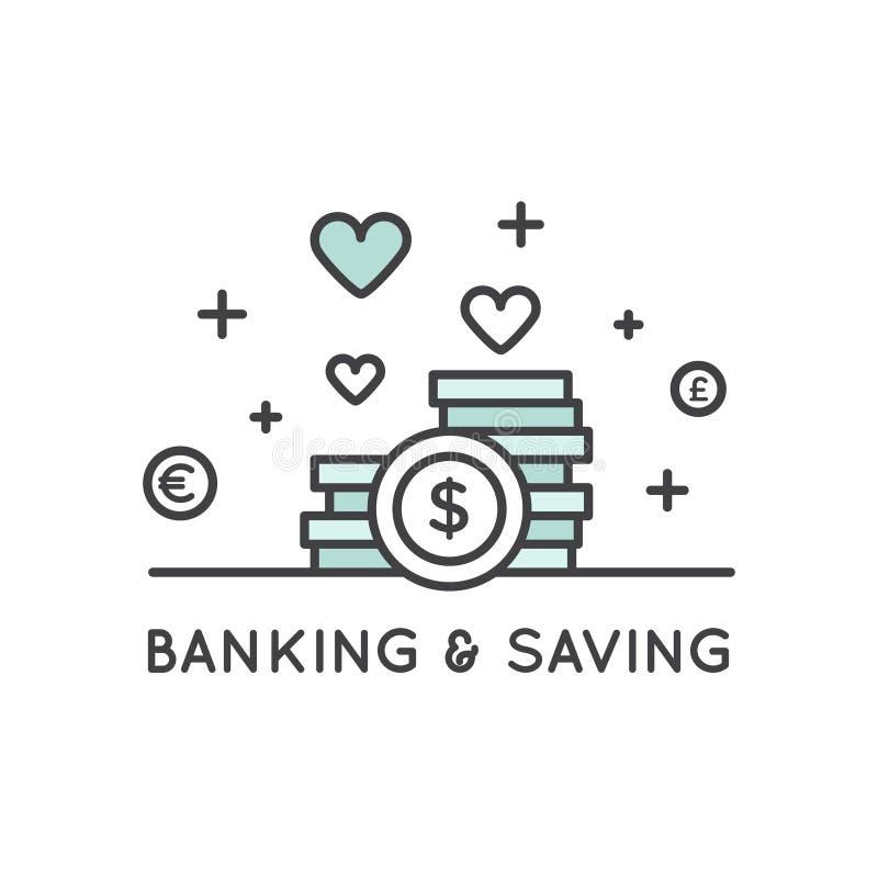 Begrepp av besparingar och pengar royaltyfri illustrationer