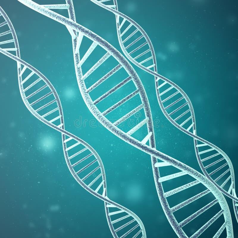 Begrepp av biokemi med dna-molekylen framförande 3d royaltyfri illustrationer