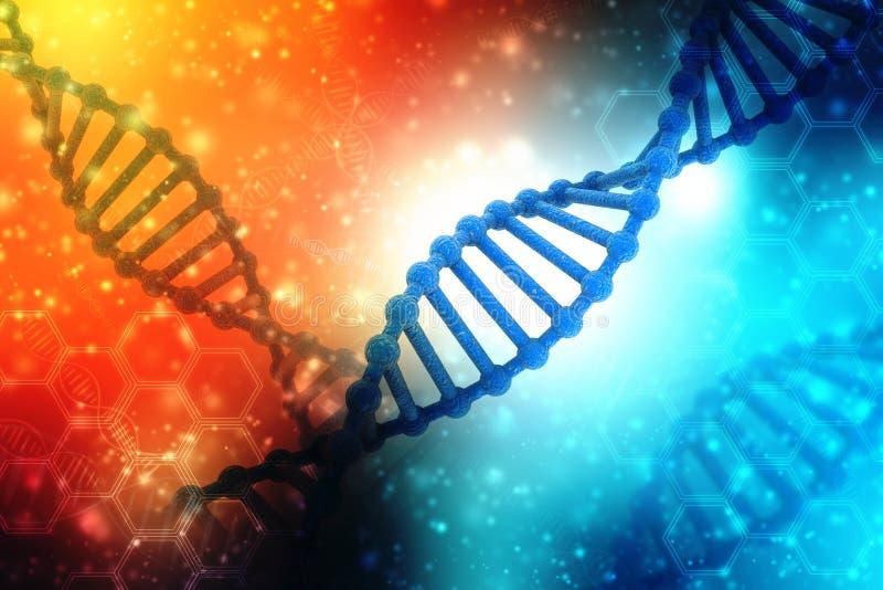 Begrepp av biokemi med DNAstrukturen i medicinsk teknologibakgrund vektor illustrationer