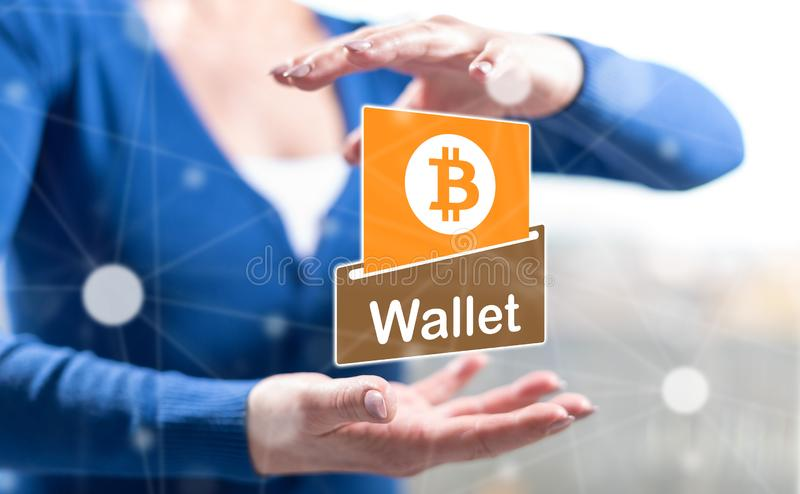 Begrepp av bitcoinplånboken royaltyfri illustrationer