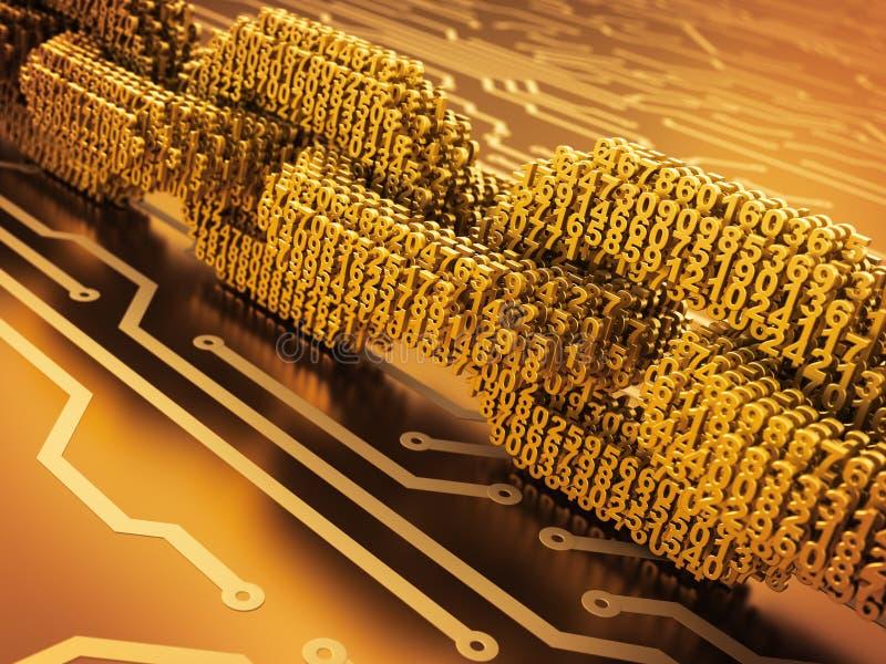 Begrepp av Blockchain Digital kedja av förbundna nummer 3D på bräde för utskrivaven strömkrets för guld vektor illustrationer
