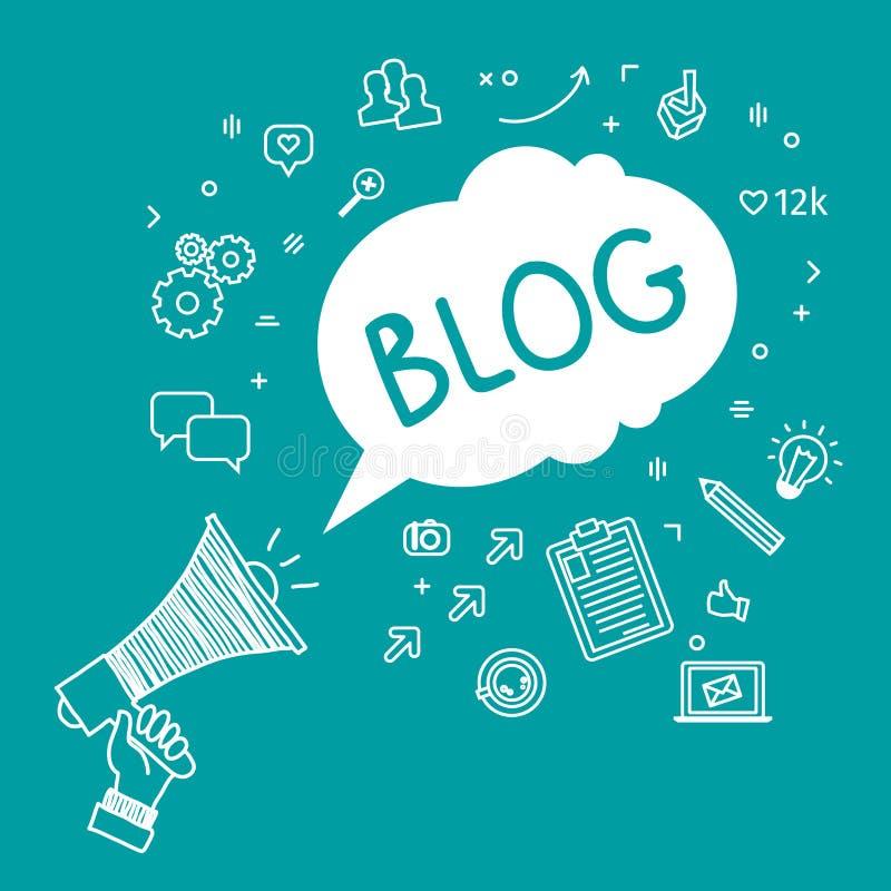 Begrepp av blogging vektor illustrationer