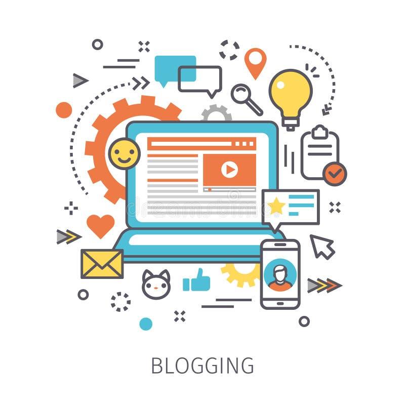 Begrepp av blogging stock illustrationer