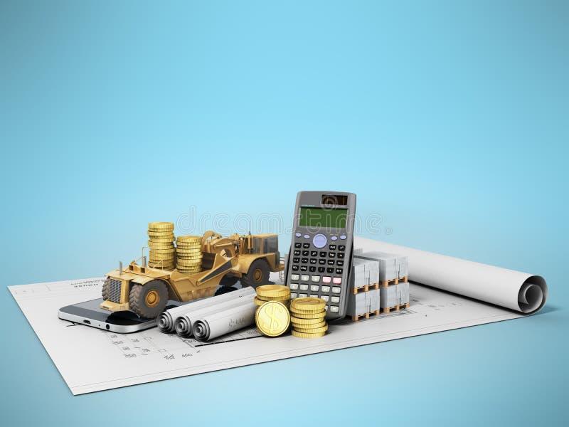 Begrepp av calculatien för material för konstruktion för reparation för vägtrottoar stock illustrationer