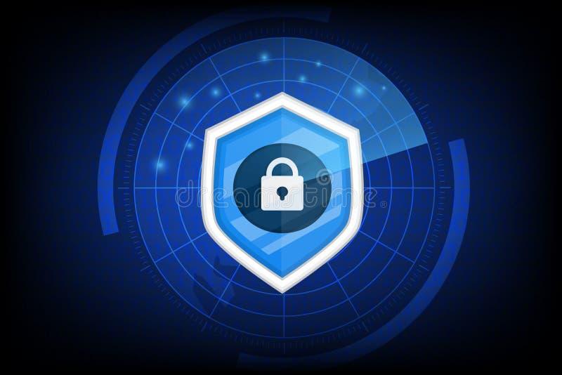 Begrepp av cybersäkerhet med den nyckel- symbolsvektorn på mörk bakgrund stock illustrationer