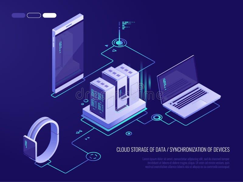 Begrepp av datanätverksledning Isometrisk översikt för vektor med affärsnätverkandeserveror, datorer och apparater oklarhet stock illustrationer